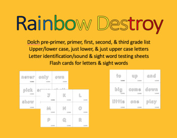 Rainbow Destroy the Sight Word/letter