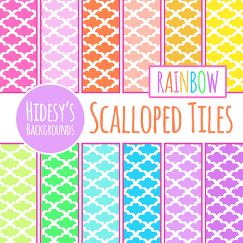 Rainbow Detailed Tiles Digital Paper / Background Clip Art Set Commercial Use