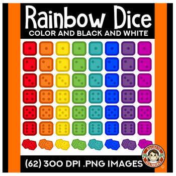 Rainbow Dice Clip Art