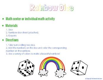 Rainbow Dice (Math Center or Individual Math Activity)