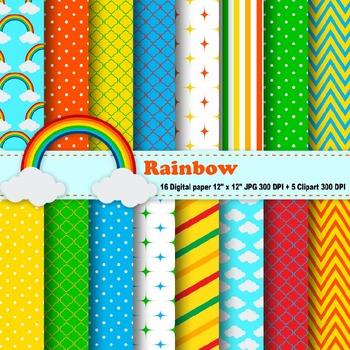 Rainbow Digital Paper & Clipart