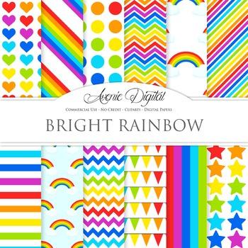 Rainbow Digital Paper Vector Background Sky multicolor polkadots stripes
