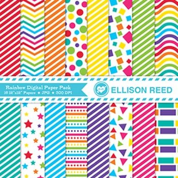 Rainbow Digital Papers - Pattern Paper - Personal and Educational Commercial Use