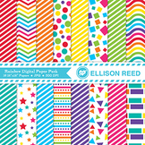 Rainbow Digital Papers - Pattern Paper - Personal and Educ