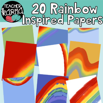 rainbow digital papers product covers design templates by