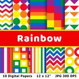 Rainbow Digital Papers, Rainbow Patterns, St. Patrick's Da