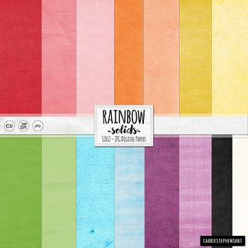 Colourful Primary Rainbow Digital Papers, St. Patrick's Day, Bright & Cheerful