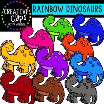 Rainbow Dinosaurs {Creative Clips Digital Clipart}