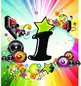 Rainbow Disco Table Number signs