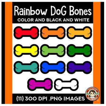 Rainbow Dog Bones Clip Art