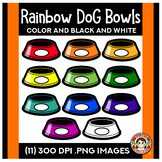 Rainbow Dog Bowls Clip Art