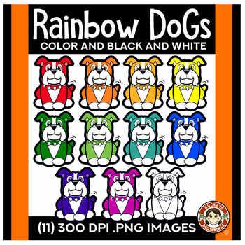 Rainbow Dogs Clip Art
