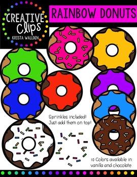 Rainbow Donut Bundle {Creative Clips Digital Clipart}