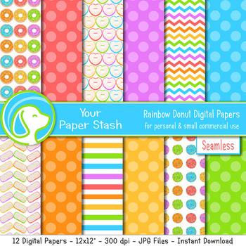Rainbow Donut Digital Scrapbook Papers, Doughnut Background Patterns