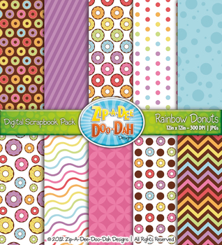 Rainbow Donuts Digital Scrapbook {Zip-A-Dee-Doo-Dah Designs}