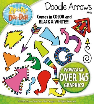Rainbow Doodle Arrows Clipart {Zip-A-Dee-Doo-Dah Designs}