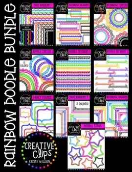 Rainbow Doodle Bundle {Creative Clips Digital Clipart}