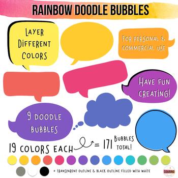 Rainbow Doodle Speech Bubble Clipart