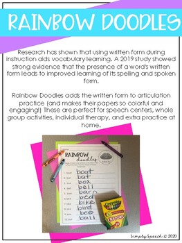 Rainbow Doodles Articulation Early Sounds