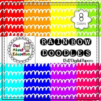 Rainbow Doodles - Digital Paper Pack