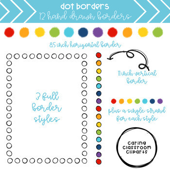 Rainbow Dot Borders + Backgrounds BUNDLE