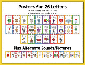Alphabet, Numbers, Colors & Shapes Posters (Primary Color Classroom Decor)