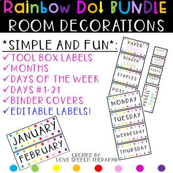 Rainbow Dot EDITABLE Teacher Toolbox Labels & Calendar Decorations