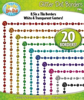 Rainbow Dot Glitter Frame Borders {Zip-A-Dee-Doo-Dah Designs}