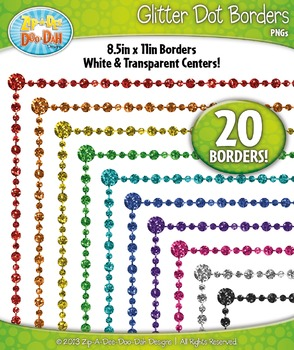 Rainbow Dot Glitter Frame Borders Set  — Includes 20 Graphics!