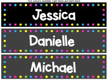 Rainbow Dot Classroom Labels Black