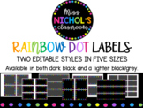Rainbow Dot Classroom Labels Black