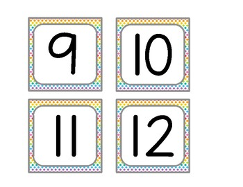 Rainbow Dot Labels Numbers 1-50 {Fits Target Adhesive Pockets!}