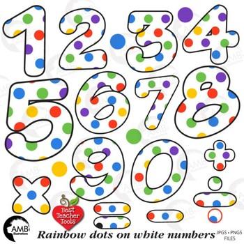 Rainbow Dot Numbers White Clipart, {Best Teacher Tools} AMB-1859