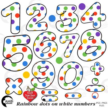 Rainbow Dot Numbers White Clipart, {Best Teacher Tools} AMB-1859