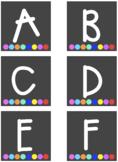 Rainbow Dots ABC Labels - Chalkboard Background
