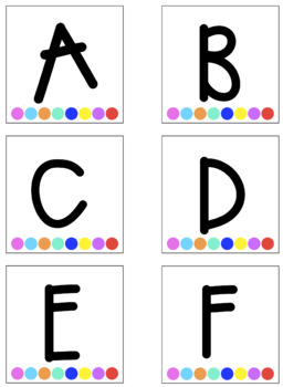 Rainbow Dots ABC Labels with White Background