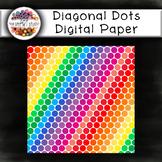 Diagonal Dots Digital Paper: Rainbow Pattern