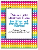 Rainbow Dots Classroom Theme Letters and Calendar Cards Freebie