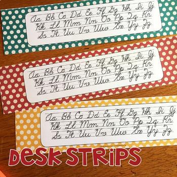 Rainbow Dots Cursive Alphabet Posters