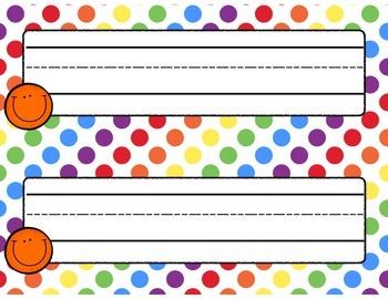Rainbow Dots Desk Nameplates