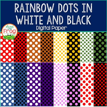 Rainbow White and Black Dots Digital Paper