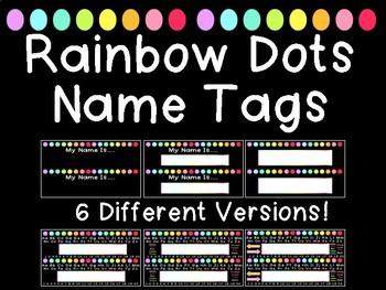 Rainbow Dots Name Tags