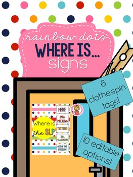 Rainbow Dots - Where is the SLP Sign - EDITABLE