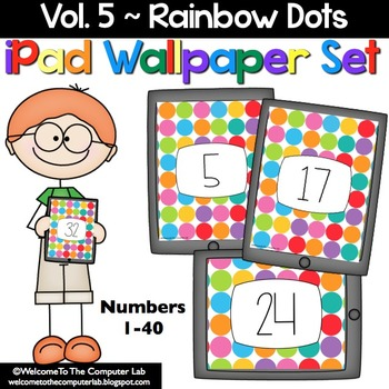 Rainbow Dots iPad Wallpaper Set