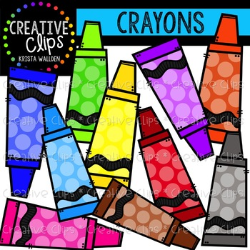 Rainbow Dotty Crayons Clipart {Creative Clips Clipart}