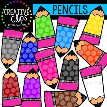 Rainbow Dotty Pencils {Creative Clips Clipart}