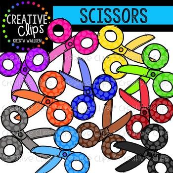 Rainbow Dotty Scissor Clipart {Creative Clips Clipart}