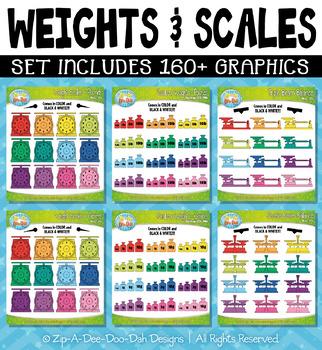 Rainbow Weights and Scales Clipart {Zip-A-Dee-Doo-Dah Designs}
