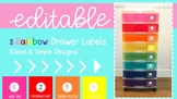 Rainbow Drawer Labels | Editable | Word Study Stations