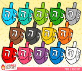 Rainbow Dreidels Hanukkah Clip Art